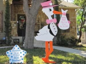 Stork Birth Announcement Lawn Sign>br> Flying Storks<br/> Clarksburg, MD<br/> (301) 606-3091
