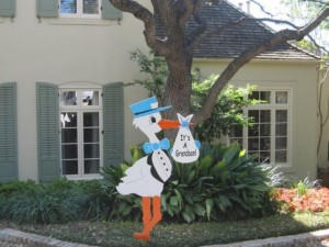 Lawn Stork Sign Baby Birth Announcement <br/> Germantown, MD<br/> Flying Storks<br/> (301) 606-3091