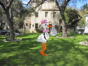 6' Yard Stork Sign Birth Announcement<br/> Bethesda, MD<br/> Flying Storks<br/> (301) 606-3091
