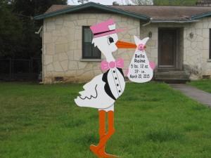 Pink Stork Sign Flying Storks Monrovia, MD (301) 606-3091