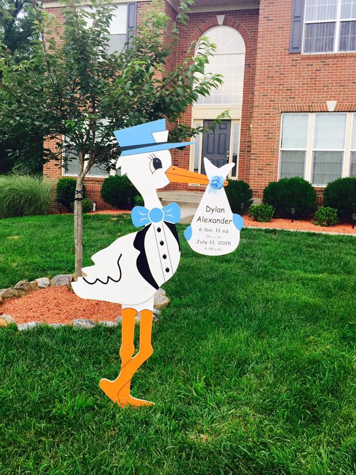 Stork Sign Yard Card Birth Announcement Clarksburg, MD Flying Storks (301) 606-3091