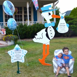 Blue Stork Lawn Sign Birth Announcement with sibling