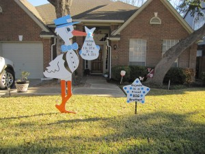 Clarksburg, MD Stork SignLawnl Birth Announcement~Flying Storks (301) 606-3091