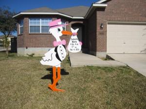 Pink Stork Announcement<br/> Flying Storks<br/> Villages of Urbana<br/> Frederick, MD<br/> (301) 606-3091