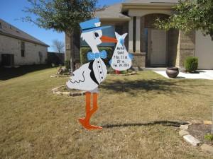 Frederick, MD Stork Sign Birth Announcement<br/> Flying Storks<br/> (301) 606-3091