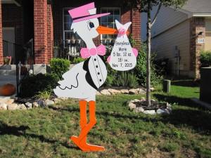Pink Stork Sign Birth Announcement Rental Bethesda, MD Flying Storks (301) 606-3091