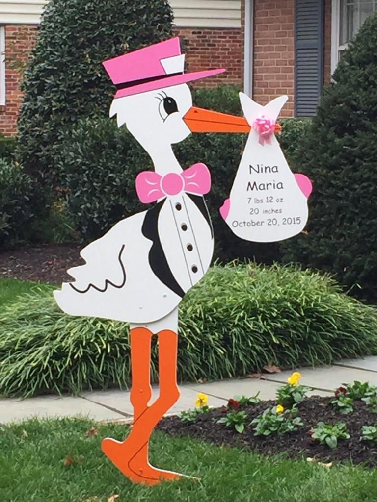 Pink Stork Yard Sign Birth Announcement