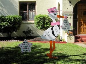 Stork Sign Yard Birth Announcement <br/> Boyds, MD<br/> Flying Storks<br/> (301) 606-3091
