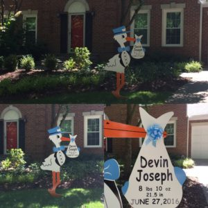 Stork Signs Maryland Yard Cards Potomac, Md Flying Storks (301) 606-3091