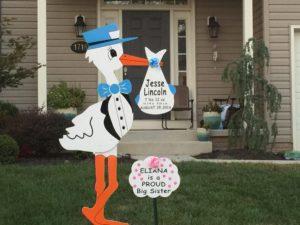 Maryland Stork Rentals Personalized Stork Lawn Sign Rentals in Maryland Flying Storks (301) 606-3091
