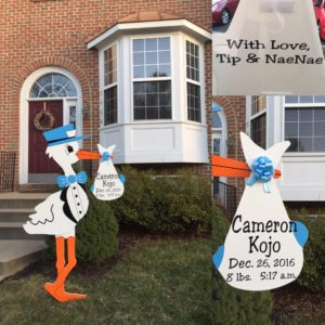Personalized Stork Sign Rental Birth Announcement Yard Card Flying Storks in Maryland