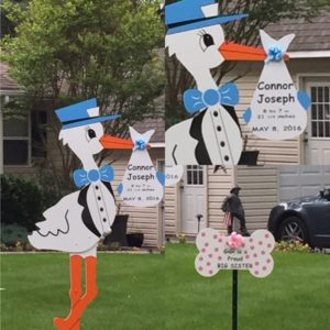 6 foot Stork Sign <br/> Flying Storks Lawn Sign Birth Announcement<br/> Maryland Flying Stork Yard Cards<br/> (301) 606-3091