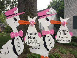 Baby Yard Stork Sign<br/> Flying Storks<br/> (301) 606-3091