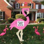 Pink Flamingo yard sign rentals Flying Storks (301) 606-3091