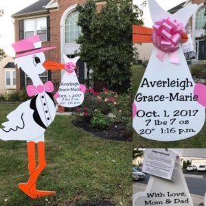 Brunswick, MD Stork Sign Rental Pretty in Pink Flyingstorks.com (301) 606-3091