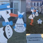 Blue Stork Sign Rental Flying Storks Poolesville, MD