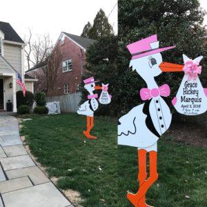 Bethesda Stork Sign Rental<br/> Flying Storks<br/> (301)303-3091