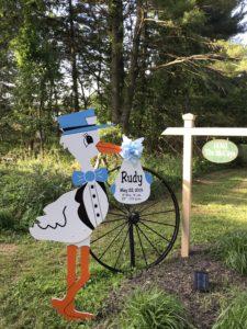 Boy yard stork sign rental