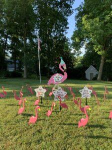 Birthday Yard Flamingos