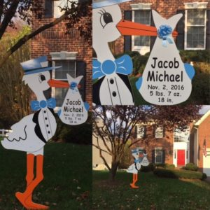 Clarksburg md flying storks lawn sign baby birth announcements maryland personalized baby gifts boydsclarksburg maryland stork sign negle Choice Image