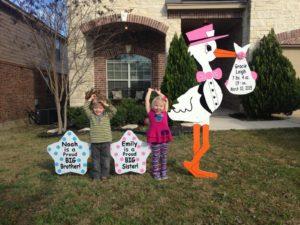 Flying Storks Yard Signs Virginia Stork Rentals (301) 606-3091