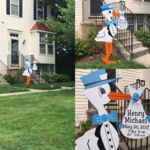 MD baby stork sign Stork Yard Sign Rental in Maryland Flying Storks (301) 606--3091