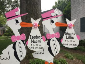 Baby Yard Stork Sign Flying Storks (301) 606-3091