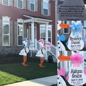 Brunswick Stork Sign rentals Flying Storks Stork Yard Signs 301-606-3091