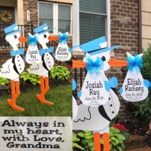Twin Boy Yard Stork Sign Rentals Urbana Maryland Flying Storks 301-606-3091