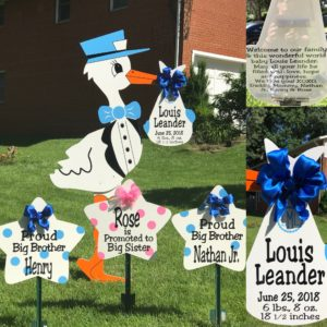 Blue Yard Stork Sign Rental