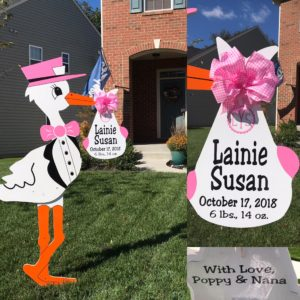 Leesburg Yard Stork Signs Flying Storks (301) 606-3091