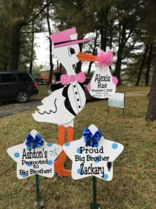 Pink Yard Stork Sign Rental Flying Storks
