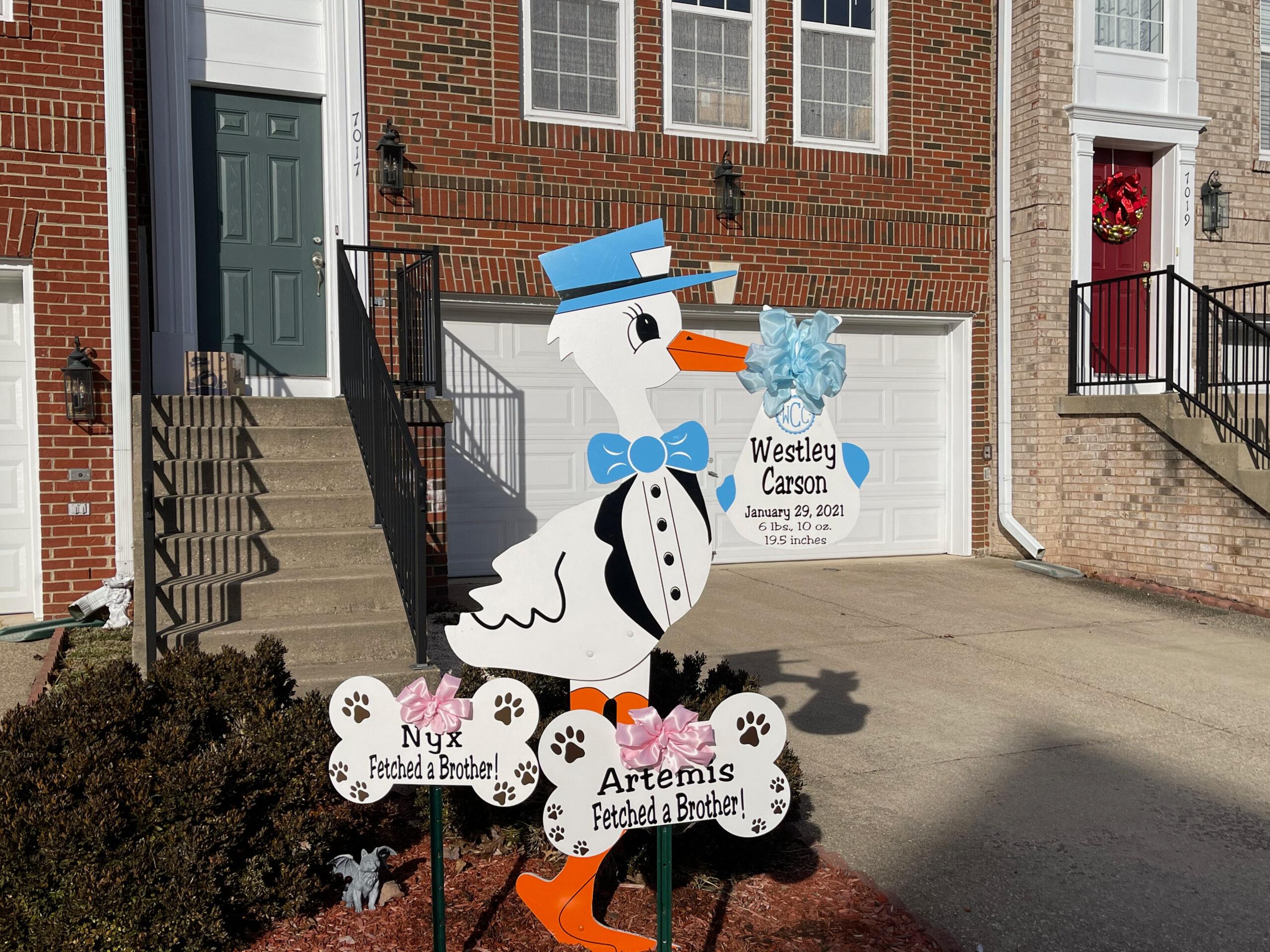 Leesburg, Virginia Stork Sign Rentals~Flying Storks~(301)606-3091